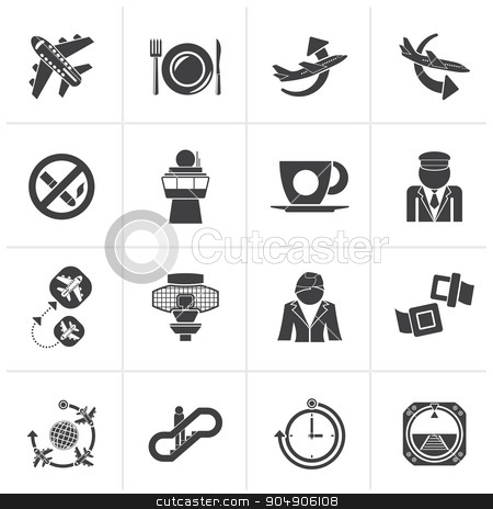 Black Aircraft, airport and Plane Icons stock vector clipart, Black Aircraft, airport and Plane Icons - vector icon set by Stoyan Haytov