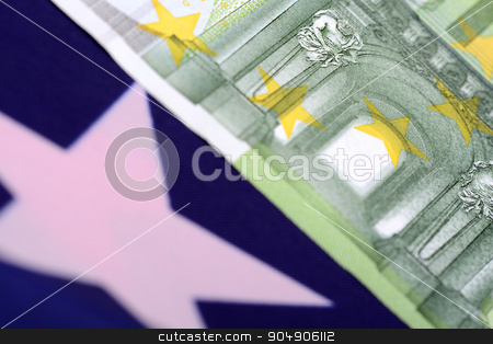 european money on american flag stock photo, european money on american flag by Sergey Lysenkov