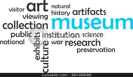 word cloud - museum stock vector clipart, A word cloud of museum related items by Amir Zukanovic