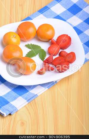 A slice of red strawberry on white plate with mandarin and strawberry slices stock photo, A slice of red strawberry on white plate with mandarin and strawberry slices by Sergey Lysenkov