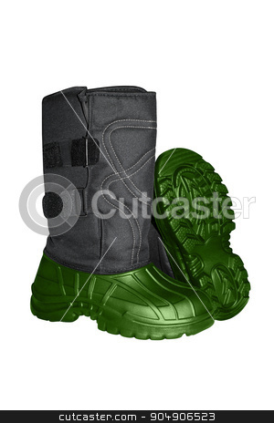 working rubber boots with fur stock photo, working rubber boots with fur isolated on white background by begun1983