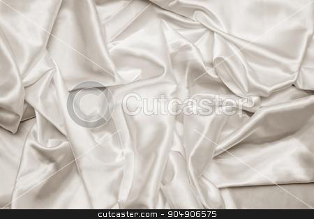 White Fabric Texture stock photo, Texture image of a white satin fabric.  by AntoniaLorenzo