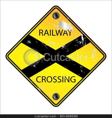Yellow Railway Crossing Sign stock vector clipart, YellowRailway Crossing traffic sign over a white background by Kotto