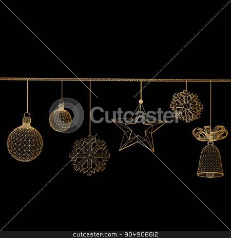 Christmas decoration Vector illustration. Polygon triangle. The structural grid of polygons. Abstract Creative concept background. Christmas ornaments hanging rope stock vector clipart, Christmas decoration Vector illustration. Polygon triangle. The structural grid of polygons. Abstract Creative concept background. Christmas ornaments hanging rope by Vladimir Khapaev