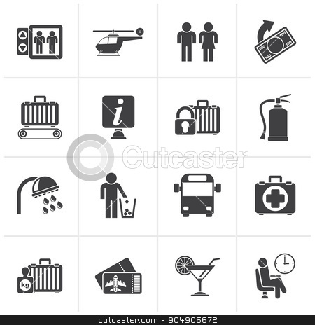 Black Airport, travel and transportation icons  stock vector clipart, Black Airport, travel and transportation icons -  vector icon set 2 by Stoyan Haytov