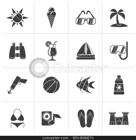 Black Tropic, Beaches and summer icons  stock vector clipart, Black Tropic, Beaches and summer icons - vector icon set by Stoyan Haytov