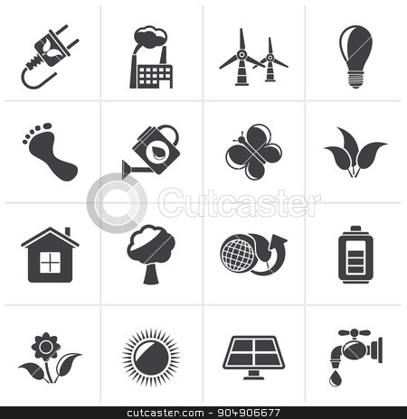 Black Green, Ecology and environment icons  stock vector clipart, Black Green, Ecology and environment icons - vector icon set by Stoyan Haytov