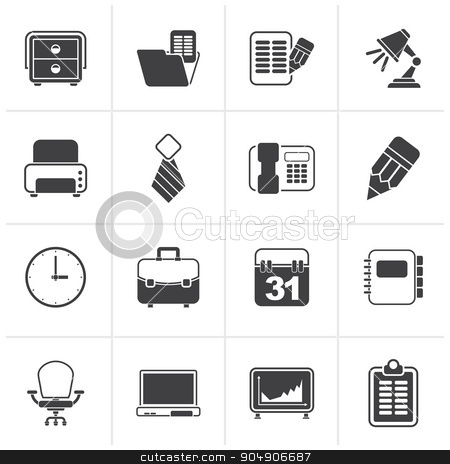 Black Business and office equipment icons  stock vector clipart, Black Business and office equipment icons - vector icon set by Stoyan Haytov