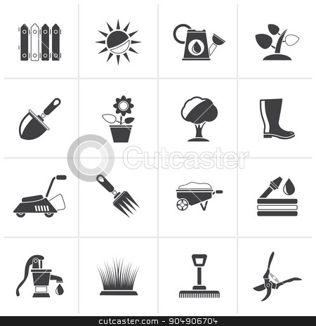 Black Gardening tools and objects icons  stock vector clipart, Black Gardening tools and objects icons - vector icon set by Stoyan Haytov