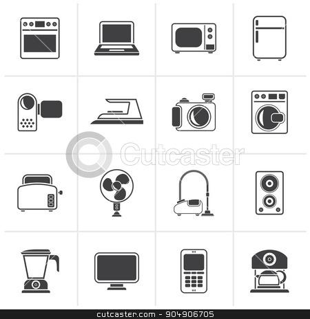 Black household appliances and electronics icons  stock vector clipart, Black household appliances and electronics icons - vector, icon set by Stoyan Haytov