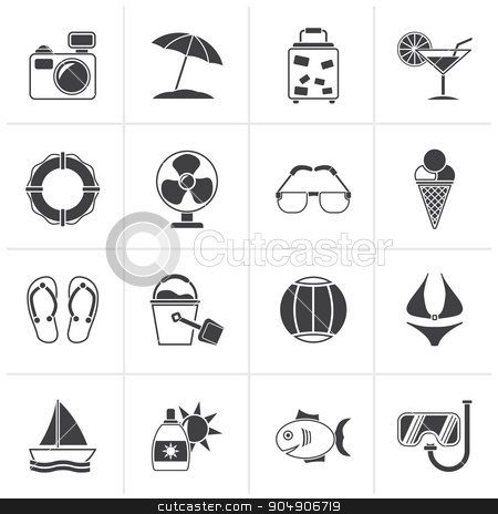 Black Summer and beach icons stock vector clipart, Black Summer and beach icons - vector icon set by Stoyan Haytov