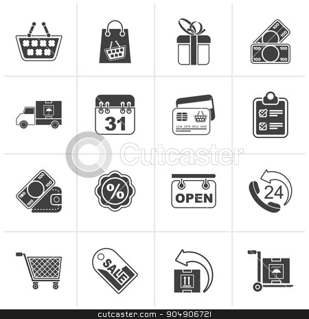 Black Online shop icons  stock vector clipart, Black Online shop icons - vector icon set by Stoyan Haytov