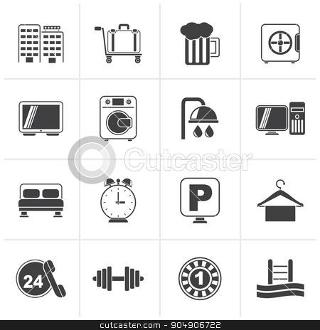Black Hotel and motel icons  stock vector clipart, Black Hotel and motel icons - Vector icon Set by Stoyan Haytov