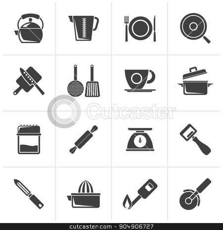 Black kitchen gadgets and equipment icons  stock vector clipart, Black kitchen gadgets and equipment icons - vector icon set by Stoyan Haytov