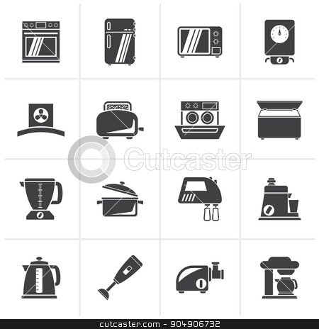 Black kitchen appliances  and equipment icons stock vector clipart, Black kitchen appliances  and equipment icons - vector icon set by Stoyan Haytov