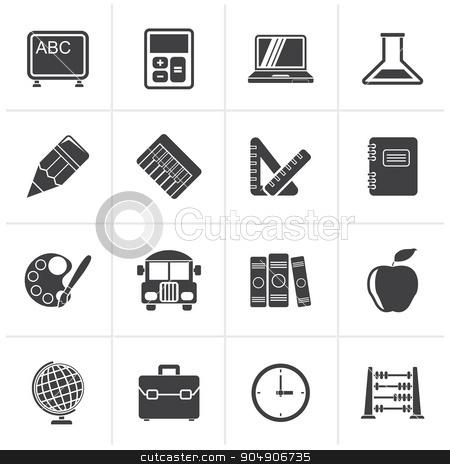 Black School and education icons  stock vector clipart, Black School and education icons - vector icon set by Stoyan Haytov