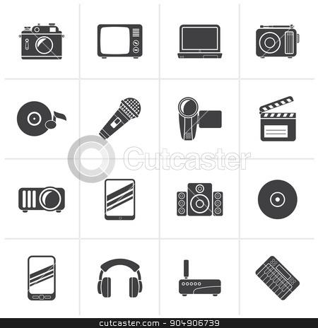 Black Media and technology icons  stock vector clipart, Black Media and technology icons - vector icon set by Stoyan Haytov