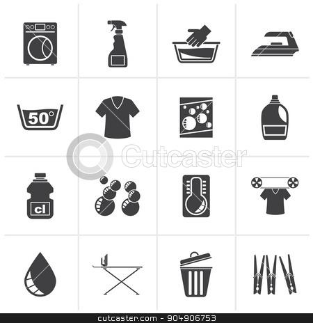 Black Washing machine and laundry icons stock vector clipart, Black Washing machine and laundry icons - vector icon set by Stoyan Haytov