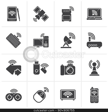 Black Wireless and communications icons  stock vector clipart, Black Wireless and communications icons - vector icon set by Stoyan Haytov