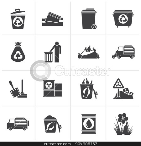 Black Garbage and rubbish icons  stock vector clipart, Black Garbage and rubbish icons - vector icon set by Stoyan Haytov
