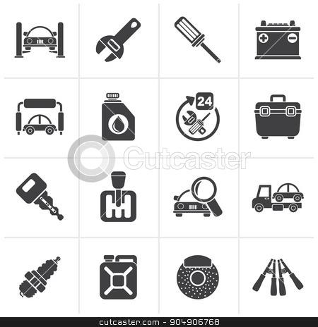 Black Car parts and services icons  stock vector clipart, Black Car parts and services icons - vector icon set 1 by Stoyan Haytov