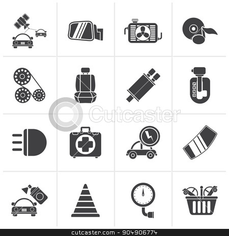 Black Car parts and services icons stock vector clipart, Black Car parts and services icons - vector icon set 3 by Stoyan Haytov