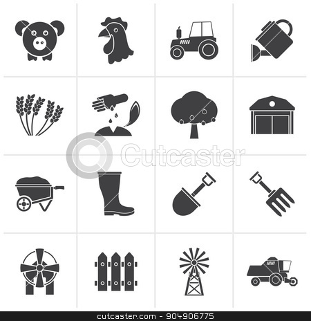 Black Agriculture and farming icons stock vector clipart, Black Agriculture and farming icons - vector icon set by Stoyan Haytov