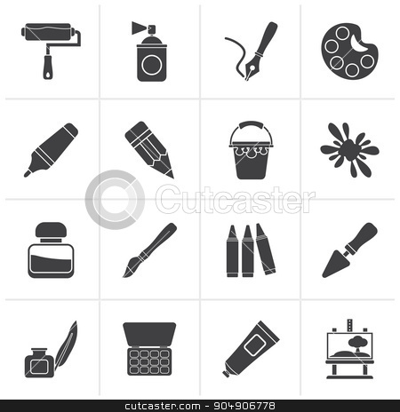 Black Painting and art object icons  stock vector clipart, Black Painting and art object icons - vector icon set by Stoyan Haytov