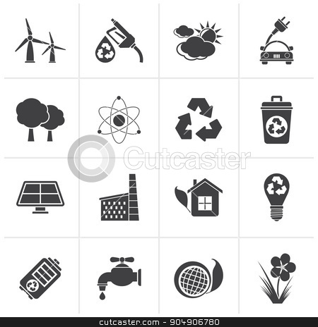 Black Ecology, environment and recycling icons  stock vector clipart, Black Ecology, environment and recycling icons - vector icon set by Stoyan Haytov