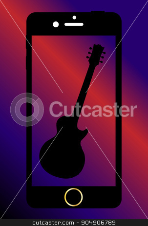 Mobile Phone With Guitar stock vector clipart, A generic mobile phone with a guitar on the screen by Kotto