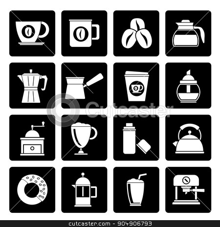 Black different types of coffee industry icons stock vector clipart, Black different types of coffee industry icons - vector icon set by Stoyan Haytov