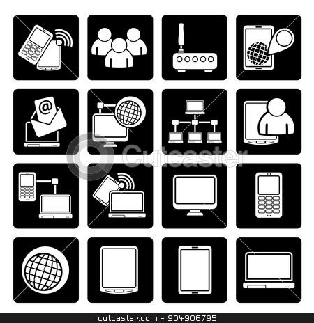 Black Communication and technology equipment icons  stock vector clipart, Black Communication and technology equipment icons - vector icon set by Stoyan Haytov