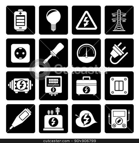Black Electricity, power and energy icons  stock vector clipart, Black Electricity, power and energy icons - vector icon set by Stoyan Haytov