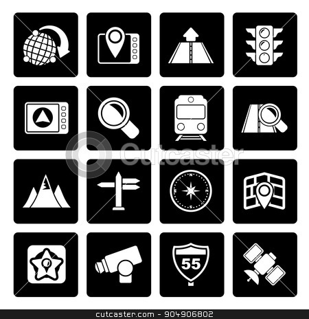 Black Map, navigation and Location Icons  stock vector clipart, Black Map, navigation and Location Icons - vector icon set by Stoyan Haytov