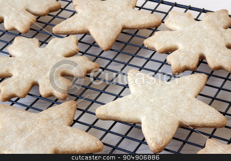 Sugar Cookies Cooling stock photo, Fresh baked sugar cookies cooling on a rack. by AntoniaLorenzo