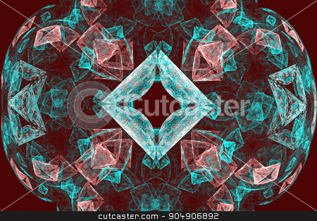 Fractal images : beautiful patterns on a dark red background. stock photo, Fractal image: on a red background there is colored lines, intricately interwoven in a beautiful lace pattern. by Georgina198