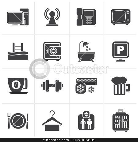 Black Hotel Amenities Services Icons  stock vector clipart, Black Hotel Amenities Services Icons - vector icon set by Stoyan Haytov