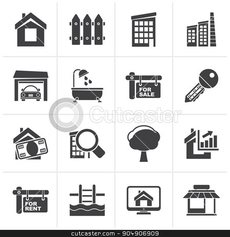 Black Real Estate Icons  stock vector clipart, Black Real Estate Icons - Vector Icon Set by Stoyan Haytov