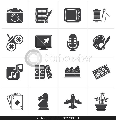 Black Hobbies and leisure Icons  stock vector clipart, Black Hobbies and leisure Icons - vector icon set by Stoyan Haytov