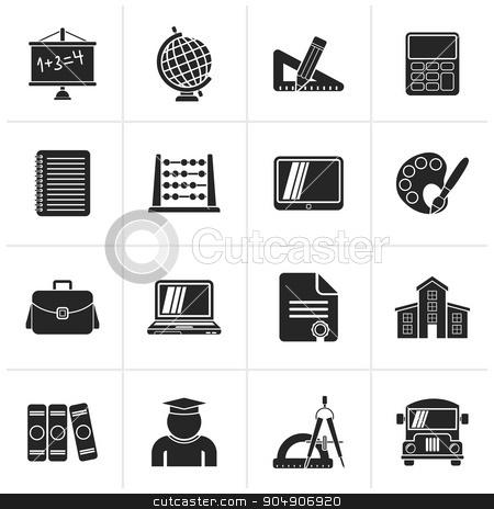 Black School and Education Icons stock vector clipart, Black School and Education Icons -vector icon set by Stoyan Haytov