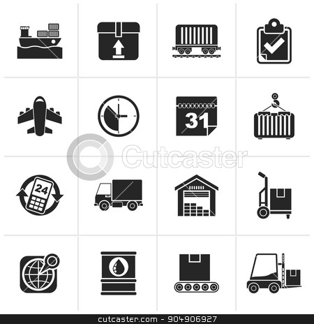 Black Logistic and Shipping icons  stock vector clipart, Black Logistic and Shipping icons - vector icon set by Stoyan Haytov