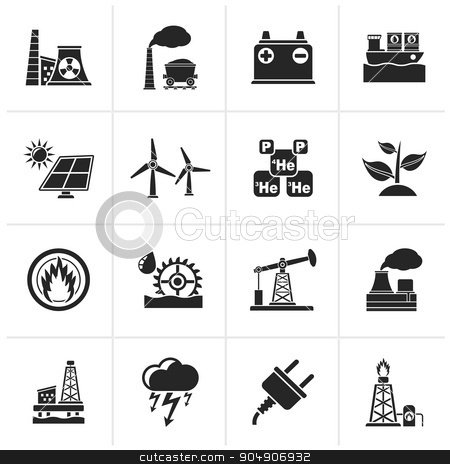 Black Electricity and Energy source icons  stock vector clipart, Black Electricity and Energy source icons - vector icon set by Stoyan Haytov