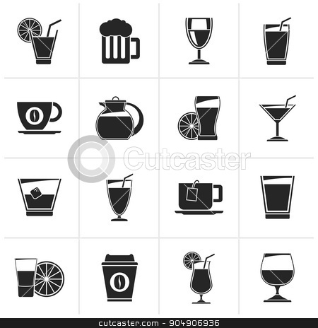 Black drinks and beverages icons  stock vector clipart, Black drinks and beverages icons - vector icon set by Stoyan Haytov