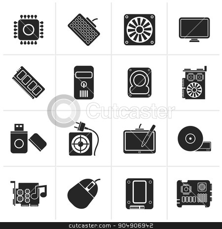 Black Computer part icons stock vector clipart, Black Computer part icons - vector icon set by Stoyan Haytov