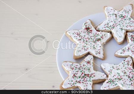 Christmas Star Sugar Cookies stock photo, Star shaped sugar cookies with Christmas decorations.  by AntoniaLorenzo