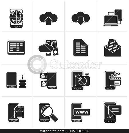 Black Connection, communication and mobile phone icons  stock vector clipart, Black Connection, communication and mobile phone icons - vector icon set by Stoyan Haytov