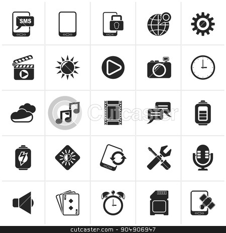 Black Mobile Phone Interface icons  stock vector clipart, Black Mobile Phone Interface icons - vector icon set by Stoyan Haytov