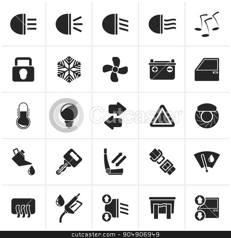 Black Car interface sign and icons  stock vector clipart, Black Car interface sign and icons - vector icon set by Stoyan Haytov