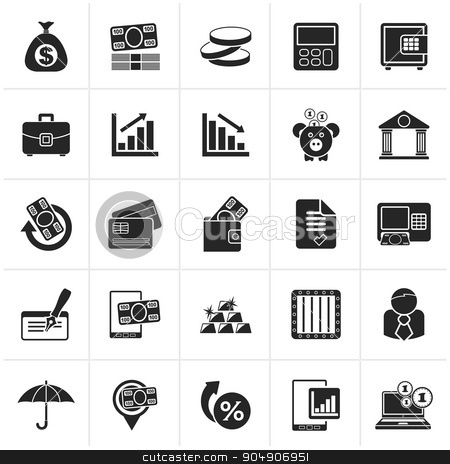 Black Bank, business and finance icons stock vector clipart, Black Bank, business and finance icons - vector icon set by Stoyan Haytov
