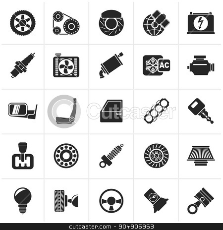 Black Car parts and services icons stock vector clipart, Black Car parts and services icons - vector icon set  by Stoyan Haytov